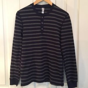 NEW American Apparel Stripe Waffle Thermal Henley